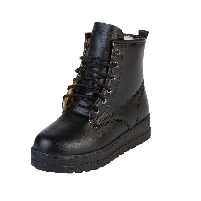 1208 預購 秋冬季英倫中跟平底短筒女靴