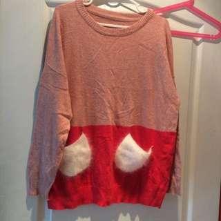 可愛雙色毛衣
