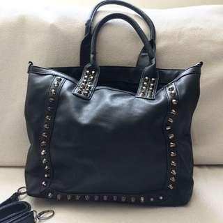 Black Leather-look Studded Shoulder Bag