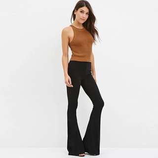 [PO H260] High Waisted Stretchable Jersey Boot Cut Pants Flares