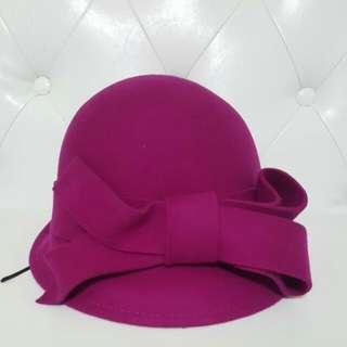 紫羅蘭蝴蝶結毛呢帽$590