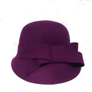 紫色蝴蝶結毛呢帽$590