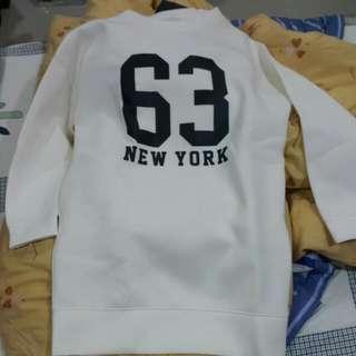 全新 日本購回 Lowrys Farm 米白數字太空棉長版衣