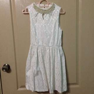 Lacy White Pearl Dress