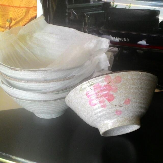 櫻花陶瓷碗(大碗,小碗)塑膠湯匙