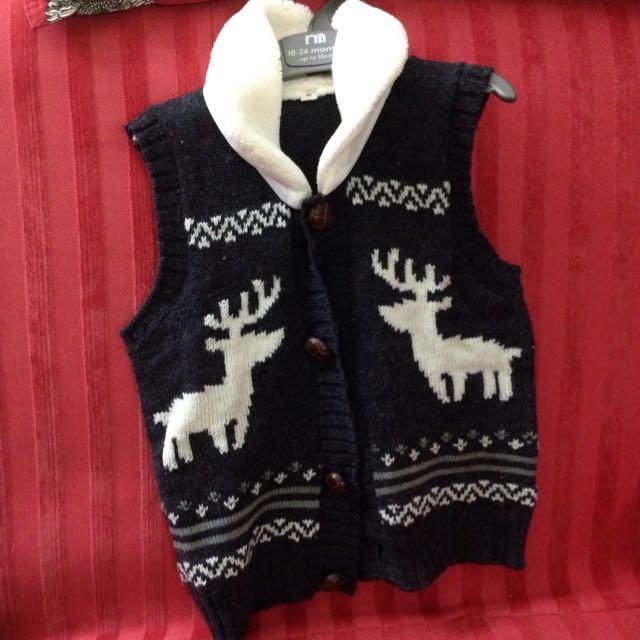 日本童裝牌子-麋鹿針織木釦背心