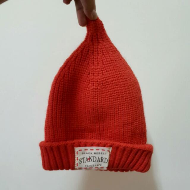 (保留)二手,橘,針織毛帽,內刷毛
