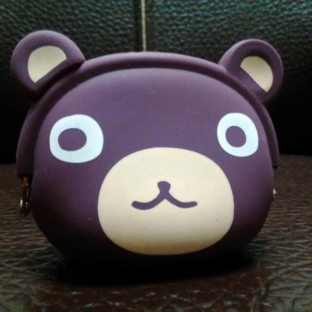 灰熊可愛 灰紫色 質感矽膠 零錢包