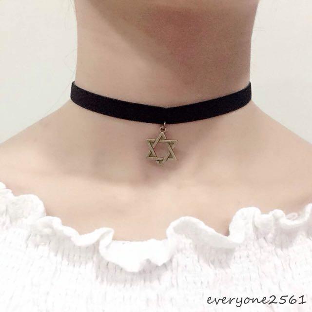 黑色絨布緞帶 古銅六芒星 頸鍊項鍊 現貨