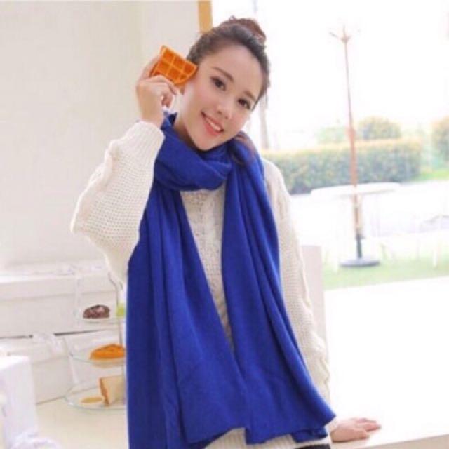 秋冬韓版紡羊絨純色圍巾 超大 加厚 圍脖 保暖 披巾