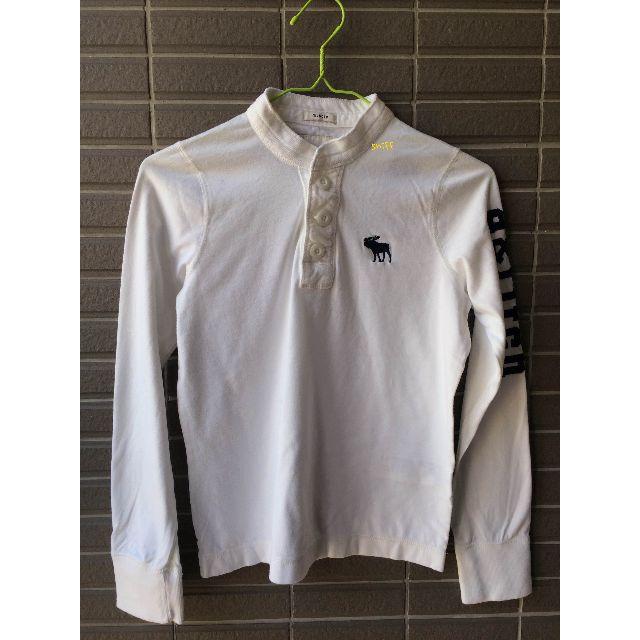 a&f 女童版 白色立領開前襟長袖T-shirt