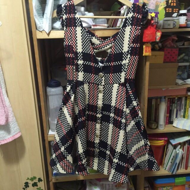 日本 liz lisa 專櫃正品 格紋花色精緻扣子背心洋裝