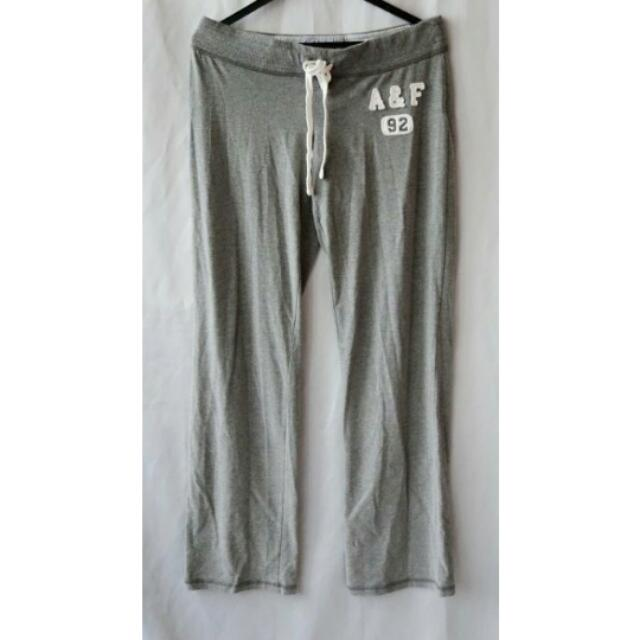 【Abercrombie&Fitch】正品 近新 綁帶休閒棉褲(麻灰M) 含運