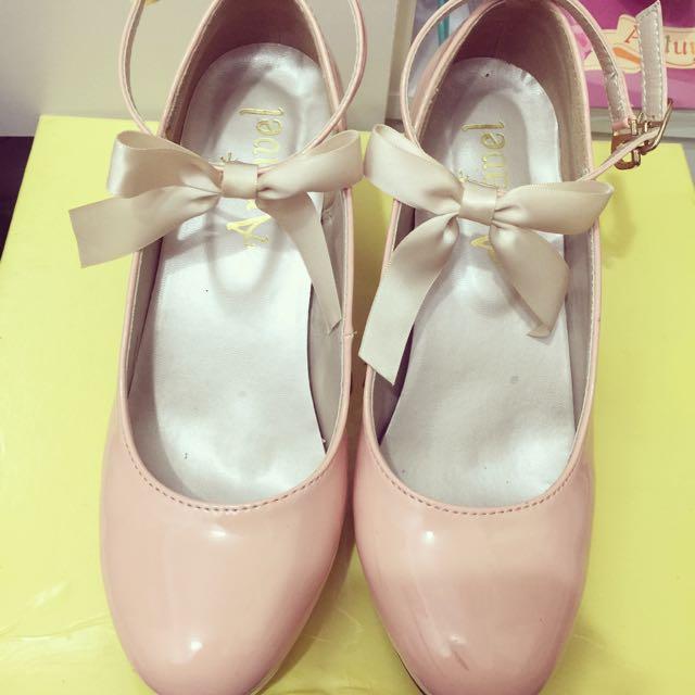 日本Amavel M號二手綁帶蝴蝶結高跟皮鞋