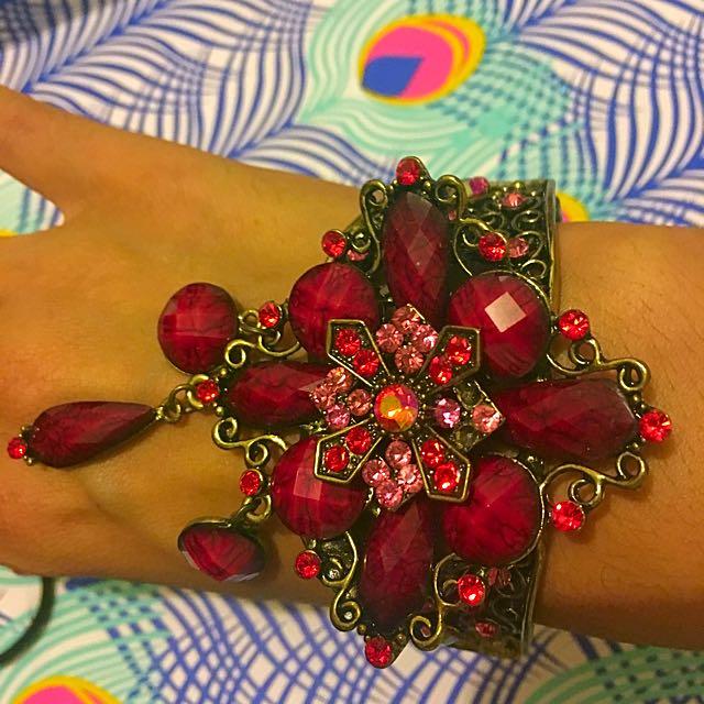 Beautiful Red Chunky Stone Bracelet