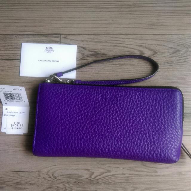COACH 51981 牛皮材質 長夾/手拿包 紫色