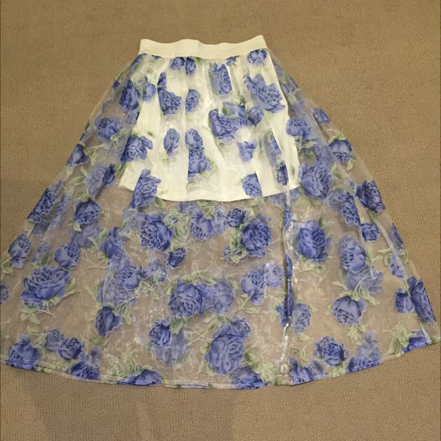 Floral Sheer High Waisted Skirt