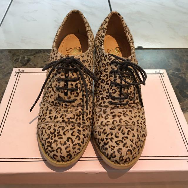 lki2 豹紋真馬毛皮 高跟包鞋