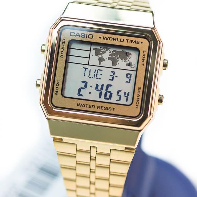 New casio vintage retro gold a500wg a 500wg world time alarm map new casio vintage retro gold a500wg a 500wg world time alarm map display womens fashion on carousell gumiabroncs Choice Image