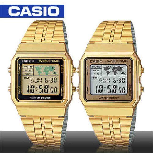 New casio vintage retro gold a500wg a 500wg world time alarm map photo photo gumiabroncs Choice Image