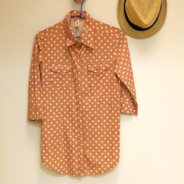 Ni-kiyo 粉橘點點襯衫