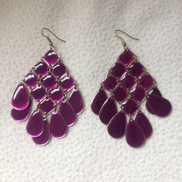 Purple Jelly & Gold Dangle Earrings
