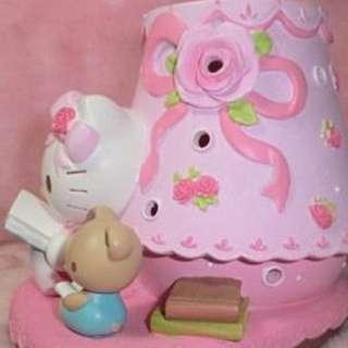 甜美可愛粉色KT讀書造型玫瑰蝴蝶結花瓣薰香燈