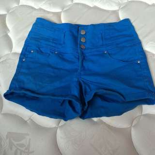 Blue High Wasted Shorts
