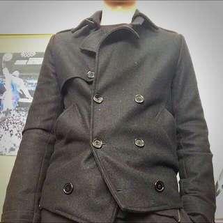 黑色雙排扣毛呢外套