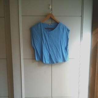 Zara藍色大寬袖上衣