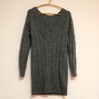 長版針織大V領毛衣 (保留)