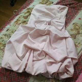 超美粉紅桃心領小禮服