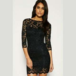Lace mini bodycon dress (Black)