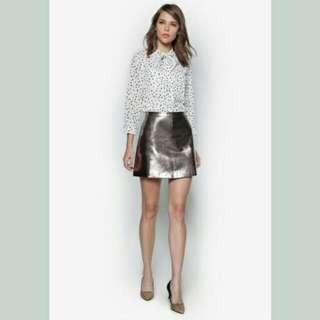 BNWT Metallic flare skirt