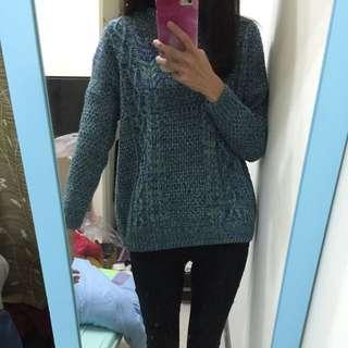 免運 藍綠色針織毛衣
