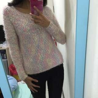 東京著衣 粉嫩海馬毛針織毛衣 #一百元上衣