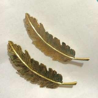 歐美 複古 森林系 大羽毛鴨嘴髮夾