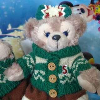2015 日本迪士尼聖誕節限定 DUFFY & SHELLIEMAY 熊熊吊飾 毛衣