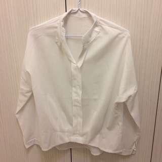 韓風開衩v領純白襯衫