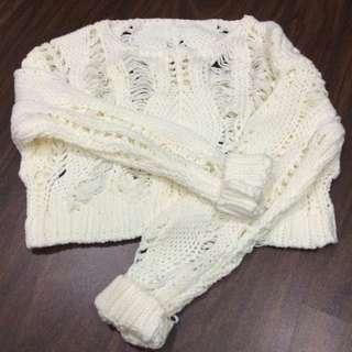 🎀可愛的洞洞針織短上衣(白)