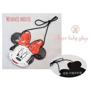Amor baby shop 超級熱銷款~手工縫製 米妮亮片側背包 兒童背包
