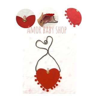 Amor baby shop 你是我的愛~愛心流蘇側背包 兒童背包