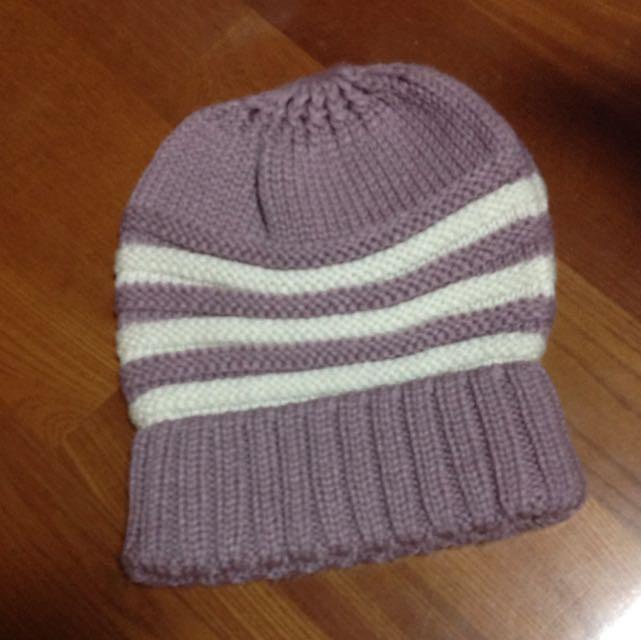 紫白配色毛帽