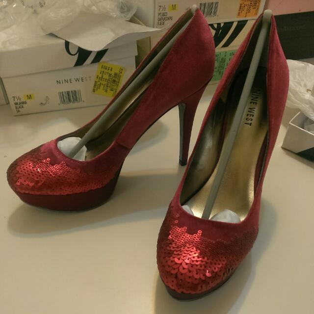 Nine West 紅色亮片高跟鞋
