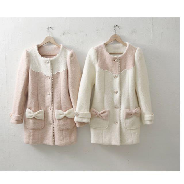 [全新]小公主蝴蝶結口袋拼色毛呢大衣外套(米色)