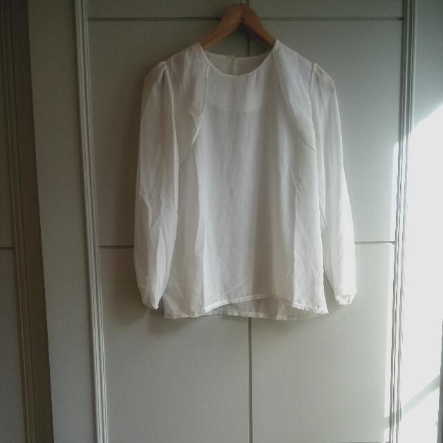 法式雪紡長袖領口造型上衣
