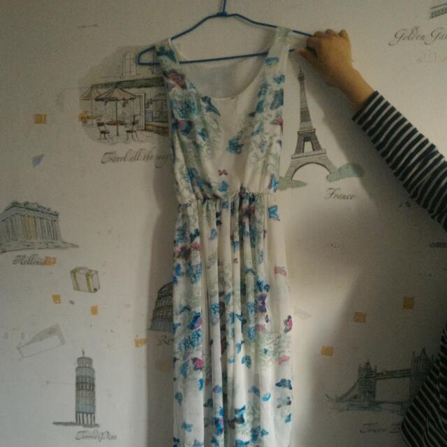 [含運]蝴蝶雪紡長洋裝