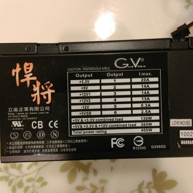 Desktop 400W PSU 電源供應器-400W 12cm Fan