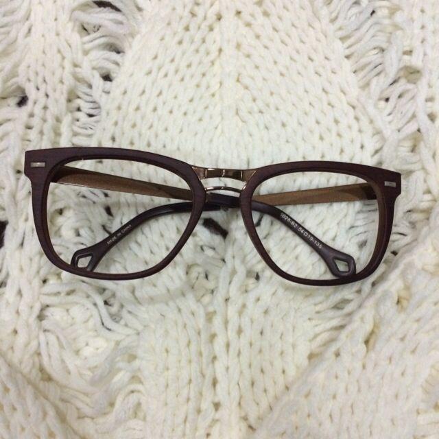 ✨木框質感眼鏡 無鏡片 牛角框學院風~
