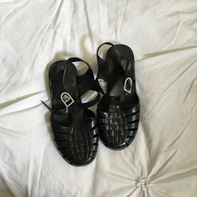 Black Jelly Shoes Size 36